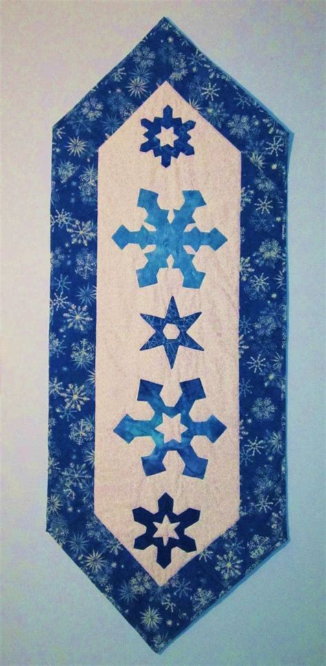 snowflake quilt pattern table runner quilted winter snowflake table runner cobalt blue by