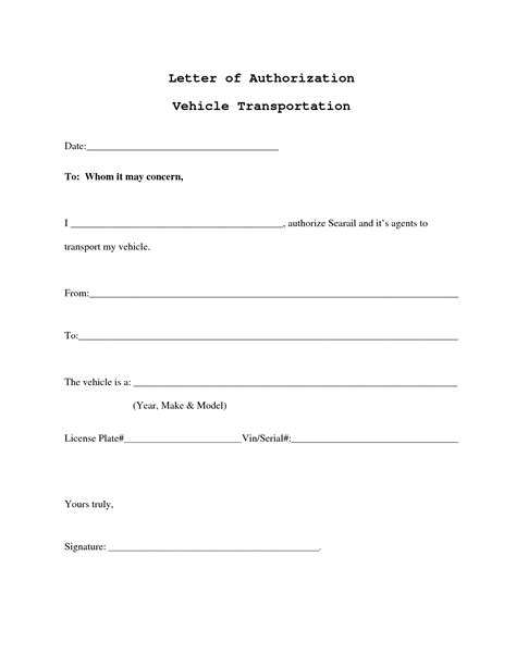 vehicle authorization letter template best photos of authorization behalf sle notarized