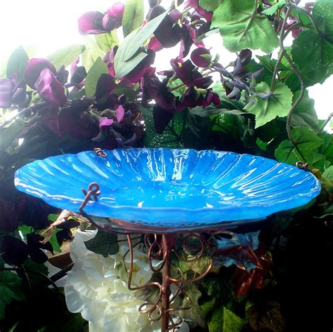 wedding gift glass bird bath bird feeder by gloriasglassgarden