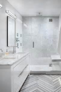 white and gray marble bathrooms marble herringbone tile floor cottage bathroom