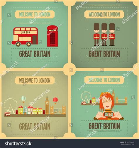 themes in ela london english poster set with british theme vector