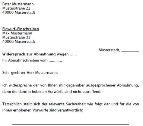 Musterbrief Einspruch Rechnung Widerspruch Abmahnung Mietverh 228 Ltnis Musterschreiben Zum
