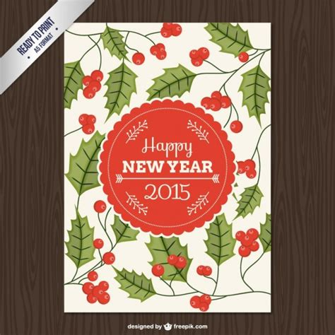 new year cmyk cmyk card with leaves vector free