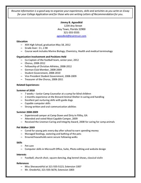Sample Student Resume For College Application by College Admission Resume Template Document Sample