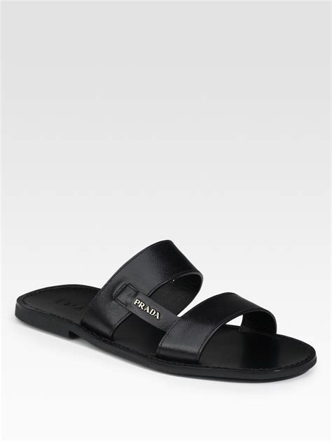 prada sandals mens prada two band sandals in black for lyst