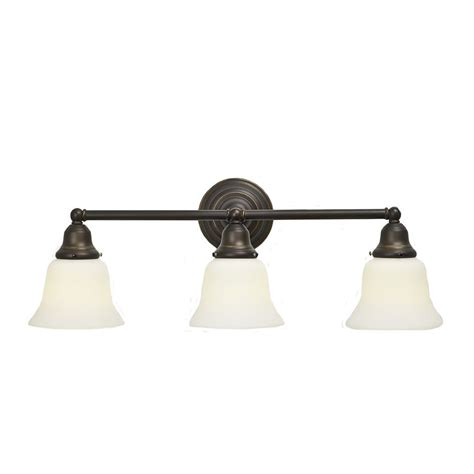 craftsman style fluorescent 3 light bathroom light bronze