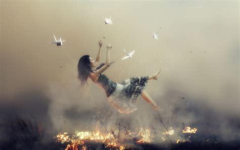 wallpaper dream  fall fire asian girl  fantasy