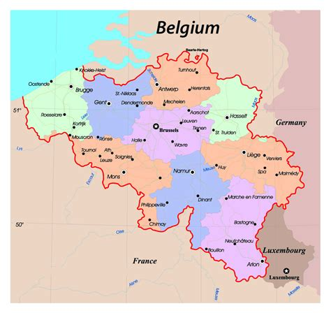 belgium map of cities detailed administrative map of belgium with roads and