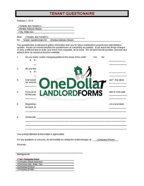 section 8 lease agreement c28 tenant questionnaire onedollarlandlordforms rental