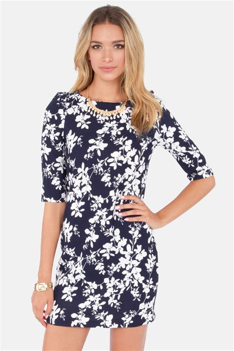 17684 blue floral overall dress pretty floral print dress shift dress navy blue dress