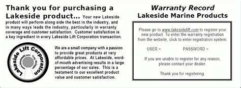 registration warranty card template free for recalls lakeside lift