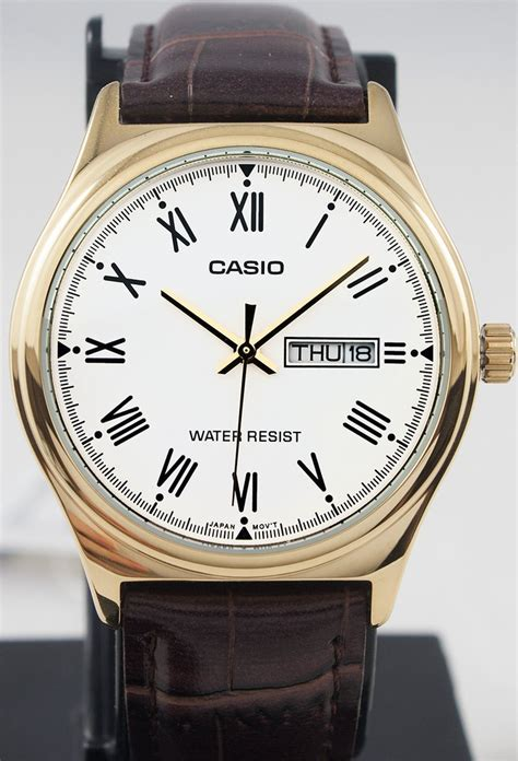 Casio Mtp Voo2g Gold casio mtp v006gl 7b mens analog gold tone brown leather band day great watches