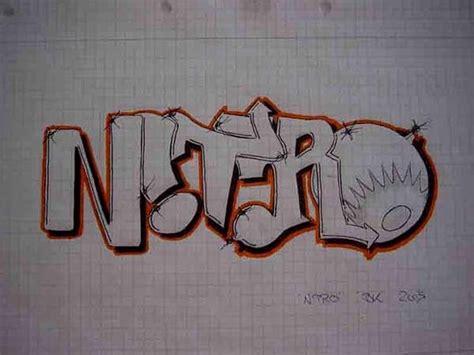 graffiti alphabet sketch nitro  paper  graffiti art