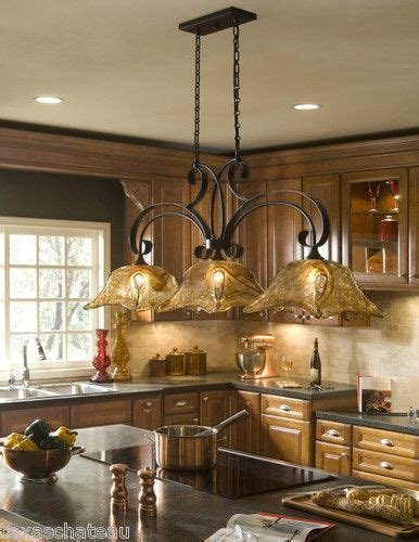 Kitchen Chandelier Lighting Country Bronze Glass Kitchen Island