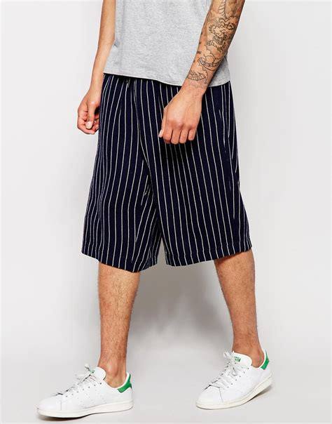 asos wide leg shorts in wool mix pinstripe in blue for
