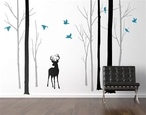 forest wall stickers deer in the forest black grey wall sticker by zazous notonthehighstreet