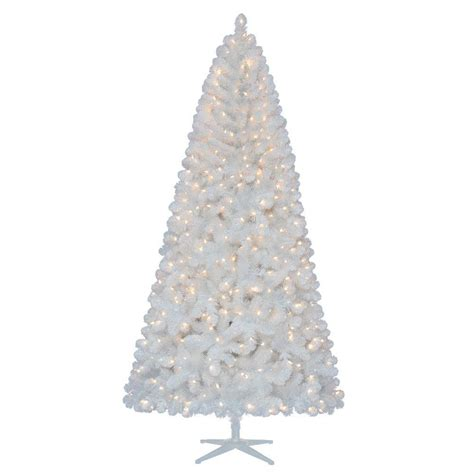 8 foot led christmas tree white lights home accents holiday 7 5 ft pre lit led glossy white