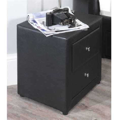 Black Bedroom Cabinets Casper Bedside Cabinet In Black Faux Leather With 2 Drawers