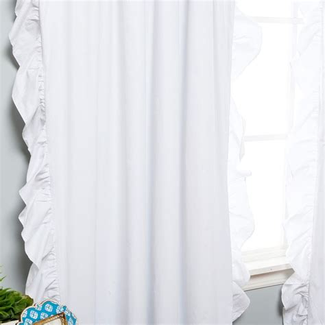White Ruffle Trim Blackout Curtain White Curtains White Ruffled Curtains For Nursery