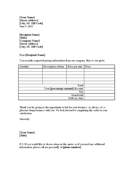 template of quotation letter to customer letter with price quote on goods for existing customer