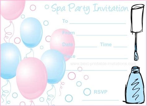Spa Party Invitations Free Printable Spa Invitations Templates