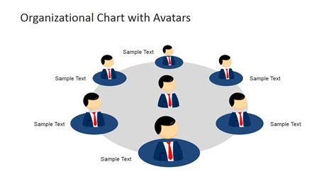 Circular Org Chart Mike Cartoon Avatar Slidemodel Free Circular Organizational Chart Template
