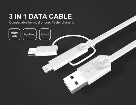 Usb Charge Kabel Data Rainbow 3 In 1 Type C Micro Usb Iphone kabel charger 3 in 1 kabel charger usb untuk gantikan kabel charger gadget anda yang telah