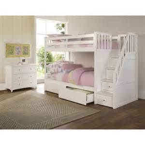 White Bunk Bed With Storage Barrett Stair Wood Bunk Bed With Storage White Finish Walmart