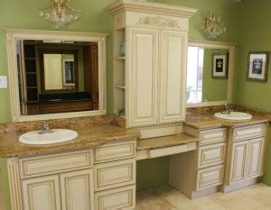 white glazed bathroom cabinets with vanity in summerlin