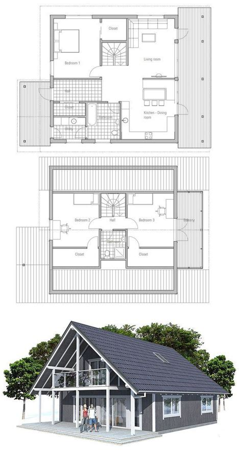 small house plan with two floors three bedrooms
