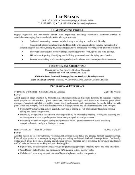 Resume For Restaurant Server by Restaurant Server Resume Sle