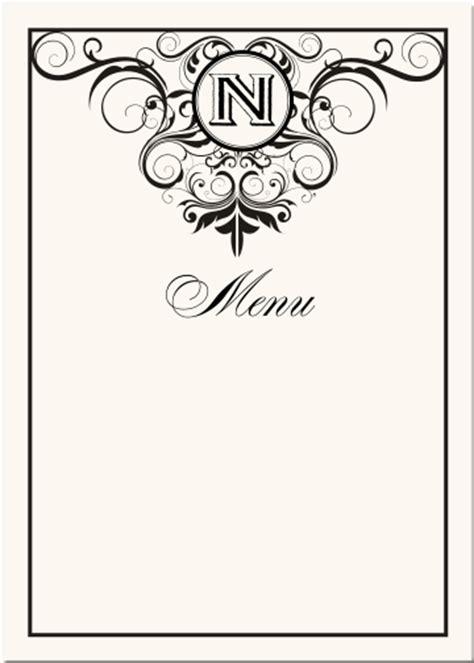 vintage menu card template wedding menu cards vintage monogram menu cards special