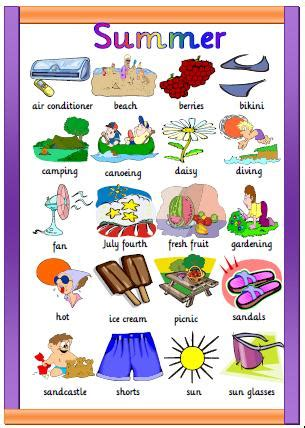 themes for english summer c summer worksheet