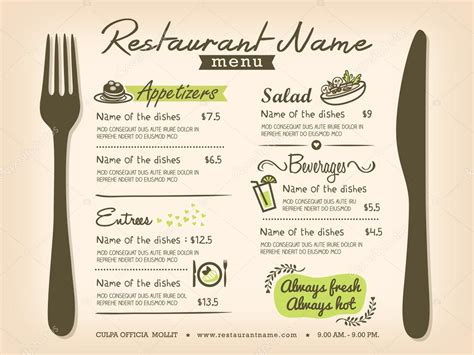 menu layout design templates restaurant placemat menu design template layout stock