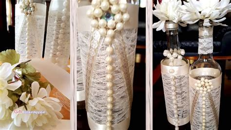 Pearls, Ribbon & Lace Wine Bottles   YouTube