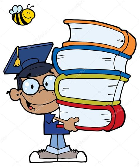 inicio libros de dibujos animados vector de stock estudiante de dibujos animados con los libros vector de