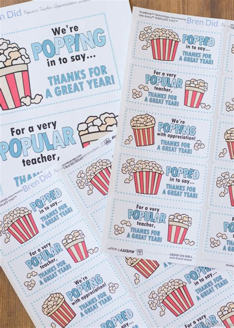 printable popcorn name tags popular quick gift tags for teacher appreciation week