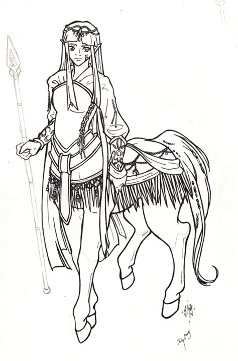 centaur girl coloring page queen kohara lineart by thecentaurclub on deviantart