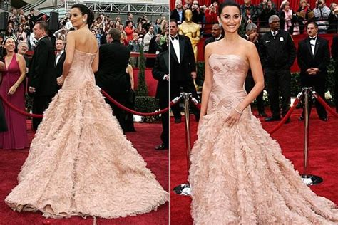 Which Of Penelopes Oscar Dresses Was The Most Fab by Penelope Pink Strapless Feathered Versace Dress