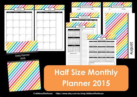 printable calendar half size new half size printable planners for 2015