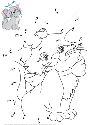 printable dot to dot a z lovely cat with a z dot to dot free printable coloring pages