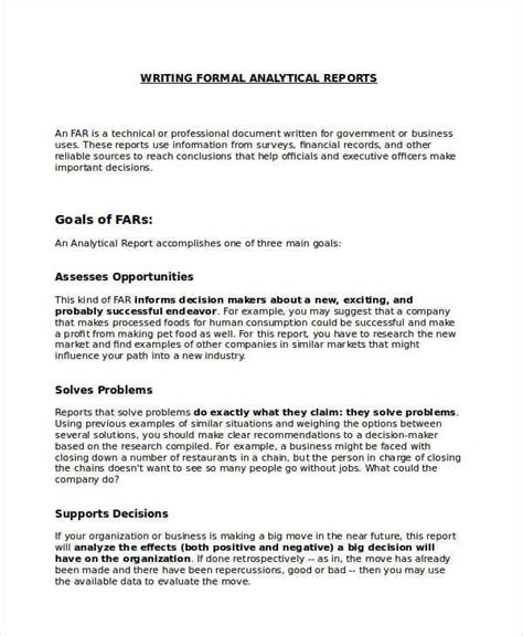 9 Formal Report Exles Sles Formal Report Template