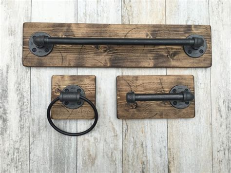 towel rack sets bathrooms industrial modern rustic bathroom set of 3 aftcra