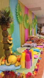 luau food table decorated luau tablecloths