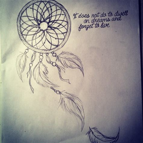 dream catcher tattoo sayings drawn dreamcatcher quote pencil and in color drawn