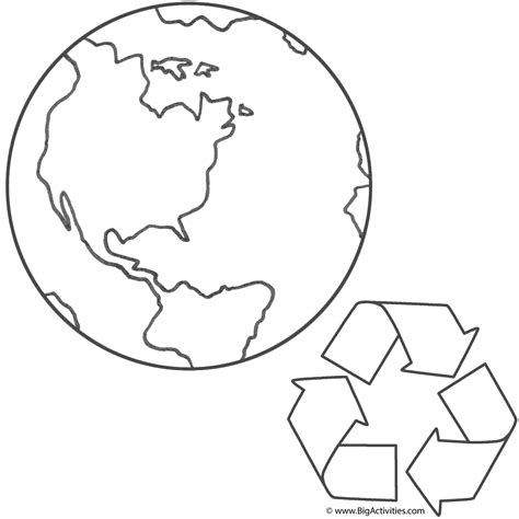 coloring page of the planet earth planet earth and recycling coloring page earth day