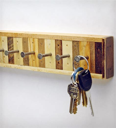 Key Racks For Home by 8 Hook Reclaimed Wood Key Holder Home Decor Lighting Six Finger Studios Scoutmob