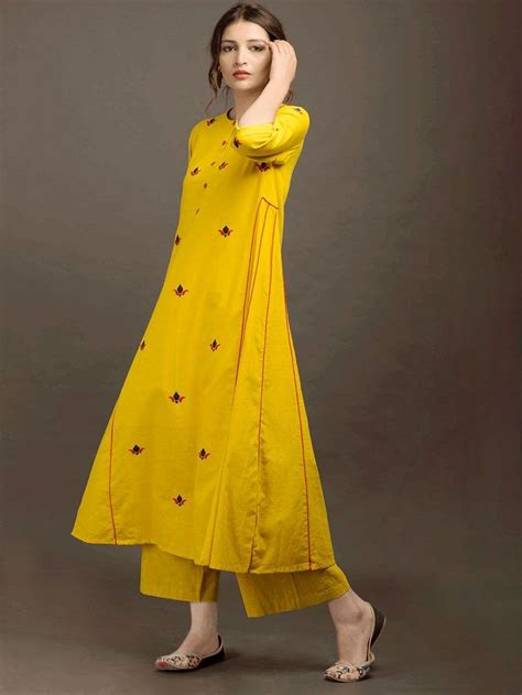 yellow khadi applique kurta fashion indian dresses