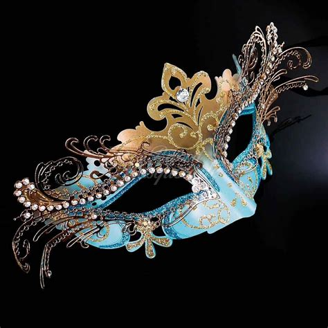 Masquerade In Blue masquerade mask mardi gras mask teal blue gold venetian 3d