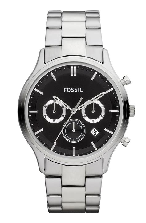 Fossil Fs0111 Silver Black fossil heritage chronograph bracelet in silver for